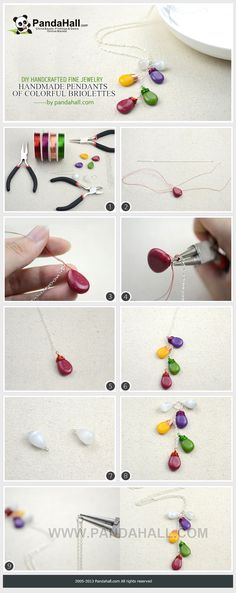Handmade pendants made with colorful Briolettes- DIY handcrafted fine jewelry from pandahall.com