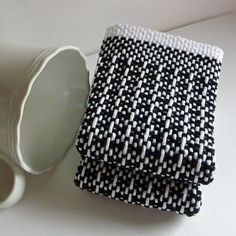 Two Hand Woven Cotton Dishcloth in Black and by CherieWheeler, $12.00