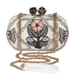 Women's Alexander Mcqueen Queen & King Embroidered Box Clutch ($3,195) ❤ liked on Polyvore featuring bags, handbags, clutches, chain strap purse, shoulder hand bags, white handbag, white shoulder handbags and miu miu handbags