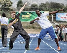 Party pals: The Fresh Prince of Rio, Usain Bolt, 29, vowed to celebrate with Prince Harry following his 100m win in Rio on Sunday