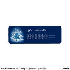 Blue Christmas Tree Fancy Elegant Decorations Label #Blue #Christmas #Tree #Fancy #Elegant #Decorations #Label #christmastree #Christmaslabel #christmasdecor