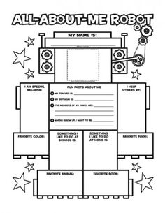 Graphic Organizer Posters: All-About-Me Robot: Grade Invite young writers to tell all about themselves in word and pictures with this literacy-boosting all-about-me robot. A great back-to-school icebreaker! Includes 30 posters plus teaching guide. All About Me Printable, All About Me Worksheet, Robot Classroom, Classroom Themes, Classroom Displays, Beginning Of The School Year, First Day Of School, Middle School, School Icebreakers