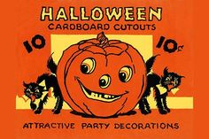 Original packaging for a Halloween collection of cardboard decorations for display.