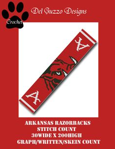 (4) Name: 'Crocheting : Arkansas Razorbacks 30x200