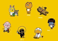 Kakao Friends, Calendar 2017, Line Friends, Emoticon, Pop Art, Character Design, Doodles, Kawaii, Cartoon