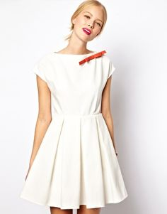 Mademoiselle Tara Cute Bow Dress with Pleated Skirt