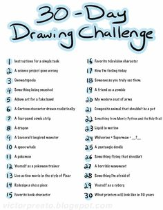 1000 ideas about 30 day drawing challenge on pinterest for Drawing ideas list