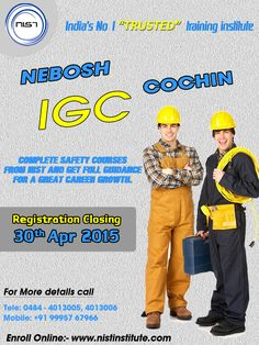 Get full guidance for a great career growth. Learn IGC to achieve a safety officer job and boost your career as a professional. We are conducting IGC course in Cochin. Registration closing on 30th April 2015.