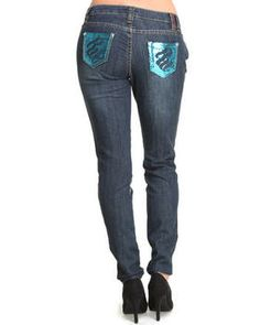 Love this Bling Sequin Pocket Trim Skinny Jean by Rocawear