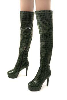a508117d8c5 Fashion Womens Crocodile Leather Over Knee High Boots Slim High Heels  Platform