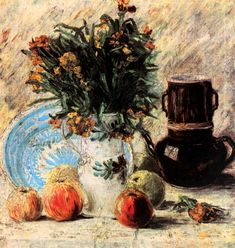 Vase with Flowers, Coffeepot and Fruit - Vincent van Gogh