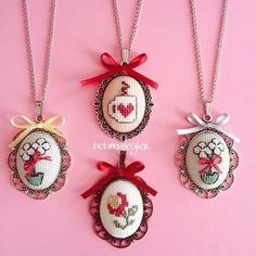 32 Ideas Embroidery Hoop Necklace Flower For 2019 Tiny Cross Stitch, Cross Stitch Boards, Cross Stitch Designs, Cross Stitch Patterns, Ribbon Embroidery, Cross Stitch Embroidery, Embroidery Patterns, Crochet Cross, Cross Stitching