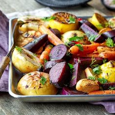 Struggling to eat a day's worth of veggies? You'll enjoy this recipe with tender roasted root vegetables tossed in a tangy drizzle of lemon, Dijon mustard and parsley. Roasting Frozen Vegetables, Roasted Fall Vegetables, Baked Vegetables, Veggies, Cooking Vegetables, Fresh Vegetables, Winter Vegetables, Vegetable Dishes, Vegetable Recipes