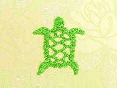 Sea turtle, free pattern  . . . .   ღTrish W ~ http://www.pinterest.com/trishw/  . . . .    #crochet  #applique
