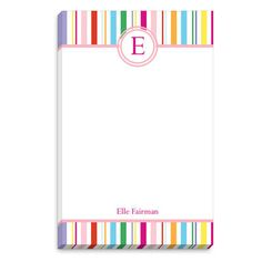 Colorful Stripe White Initial Notepads