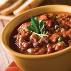 Chili con Carne  The secret: lean flank steak keeps the fat content low.