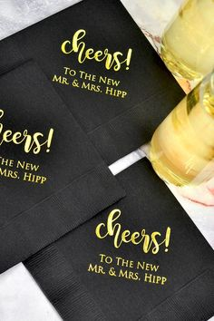 Personalized Wedding Cocktail Napkins - Personalize your wedding bar and drink station napkins with a custom message from the new Mr. Cocktail napkins can also be used for appetizers and wedding cake. Outdoor Wedding Venues, Wedding Reception, Foil Wedding Stationery, Cake Table Decorations, Reception Decorations, Wedding Cocktail Napkins, Wedding Desserts, Wedding Cake, Bridesmaid Proposal