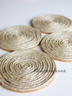 hemp coasters - perhaps with spray paint matching the hemp balls - #diy #crafts #coaster #jute