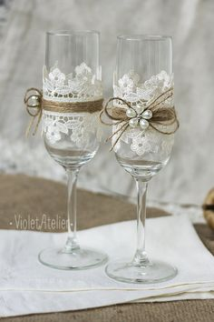 Lace Toasting Flutes Pearl Flower Champagne by VioletAtelier