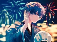 Come and join me to the festival. Cute Anime Boy, Anime Guys, Hanabi, Manga Boy, Manga Illustration, Boy Art, Anime Artwork, Anime Chibi, Vocaloid