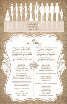 Burlap and Lace Wedding Programs -  Ceremony Programs - Wedding Party Silhouette - Custom Programs on Etsy, $1.07