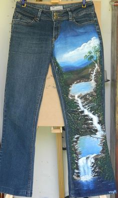 Hey, I found this really awesome Etsy listing at https://www.etsy.com/listing/187645927/hand-painted-jeans-with-waterfalls