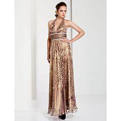 Sheath / Column Halter Floor-length Chiffon Evening Dress