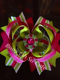 Boutique bow with two tone Rhinestone center by