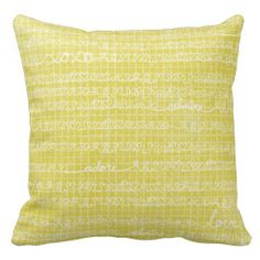 Yellow Love Words Throw Pillow