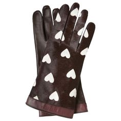 Burberry Heart Print Calfskin Gloves ($650) ❤ liked on Polyvore featuring accessories, gloves, guanti, calfskin gloves, burberry, burberry gloves and wet look gloves