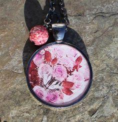 Flashy Gunmetal Rose Butterfly Pendant with by SlatedInSpirit