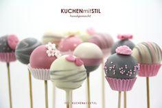 www.KUCHENmitSTIL.at grey white pink elegant Cake Pops for birthday or wedding