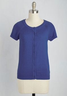 Just Thought I'd Author Cardigan in Cobalt. Wrapping up your writing contest entry in this short-sleeved cardi - part of our ModCloth namesake label - you breathe a sigh of relief. #blue #modcloth