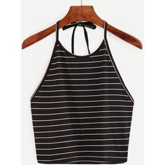 Halter Striped Cami Top ($5.90) ❤ liked on Polyvore featuring tops, black, stripe tank, striped tops, striped halter top, cami tank tops and halter neck tops