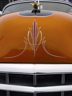 pin stripe on orange hood...#pinstripe #classiccar