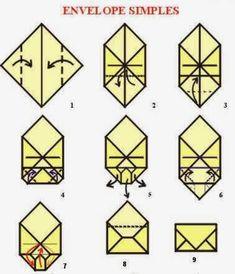 Envelope Carta, Envelope Origami, Origami Bag, Kids Origami, Useful Origami, Simple Origami, Harry Potter Diy, Origami Owl Fundraiser, Origami Crane Tutorial