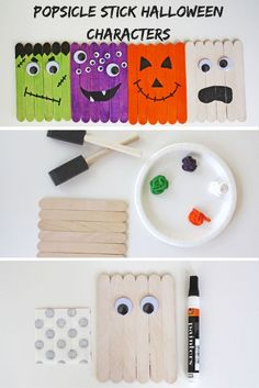 Easy Halloween Character Popsicle Stick Craft - Halloween for KidsWith Halloween right around the corner, Ella & Annie came up with an idea for Popsicle stick Halloween characters, and this Halloween craft for kids was a huge hit! Halloween Arts And Crafts, Halloween Crafts For Toddlers, Halloween Tags, Theme Halloween, Halloween Crafts For Kids, Halloween Activities, Toddler Crafts, Kids Fall Crafts, Kids Diy