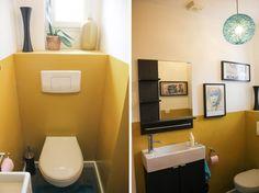 Peinture wc gris anthracite et gris perle et touches jaune vif toilettes d coration de salle for Peindre ses toilettes