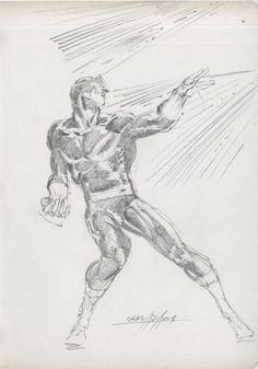 a Cyclops pencil sketch, by Neal Adams.