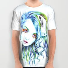 #alloverprint #tshirt #woman #aquatic #clothing #water #surreal #bluehair