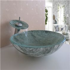 Modern Waschbecken Blau Rund Glas Aufsatz Waschschale mit ... | {Waschbecken rund glas 69}