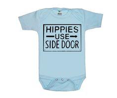 HIPPIES use side door Sign Blue baby onesie creeper by LIttleAtoms, $15.00