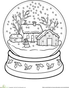 Winter First Grade Holiday Worksheets: Snow Globe Coloring Page