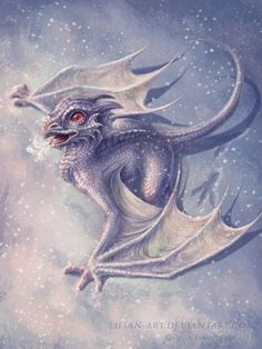 "...ice dragon baby...instead of fire, they breath a freezing frost...i'll name him ""frosty"" ;) ...Art by http://lilian-art.deviantart.com/"