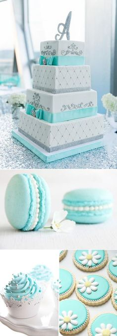 Awesome Ideas For Your Tiffany Blue Themed Wedding tiffany blue wedding cakes and cookies Tiffany Blue Weddings, Tiffany Theme, Tiffany Wedding Cakes, Tiffany Blue Party, Tiffany Blue Cupcakes, Tiffany Blue Dress, Tiffany Cakes, Green Weddings, Romantic Weddings