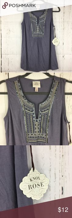 Knox Rose Purple Vneck Embroidered Top Blouse Sz S This top is brand new with tags!   Armpit to armpit- 17 in Armpit to bottom- 20.5 in  Check out my other listings!  Sorry no trades or PayPal but offers welcome!   Item- 231 0000022018 knox rose Tops Tank Tops