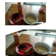 EASY BREAKFAST: Fiber 1 bar, raisins, oatmeal, and a bolthouse farms multi-v juice smoothie. Of course a one a day vitamin!