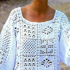 Vintage Crochet Pattern  Granny Square Motif Tops  Tunic