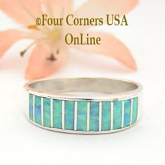 Four Corners USA Online - Size 10 1/2 Light Blue Fire Opal Inlay Wedding Band Ring Ella Cowboy WB-1605, $135.00 (http://stores.fourcornersusaonline.com/size-10-1-2-light-blue-fire-opal-inlay-wedding-band-ring-ella-cowboy-wb-1605/)