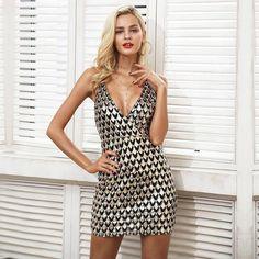 Sequin Strap V Neck Party Mini Dress